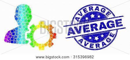 Dot Rainbow Gradiented User Options Gear Mosaic Pictogram And Average Seal. Blue Vector Round Textur