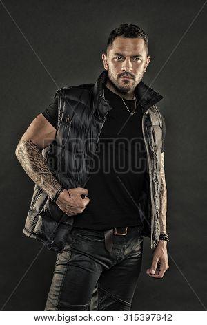 Tattoo Brutal Attribute. Tattoo Culture Concept. Man Brutal Unshaven Hispanic Appearance Tattooed Ar