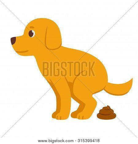 Cartoon Dog Pooping. Cute Vector Illustration Of Defecating Dog.