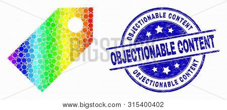 Pixelated Spectrum Tag Mosaic Icon And Objectionable Content Stamp. Blue Vector Round Distress Seal