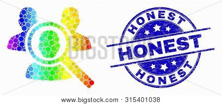 Pixel Rainbow Gradiented Search People Mosaic Pictogram And Honest Seal. Blue Vector Rounded Scratch