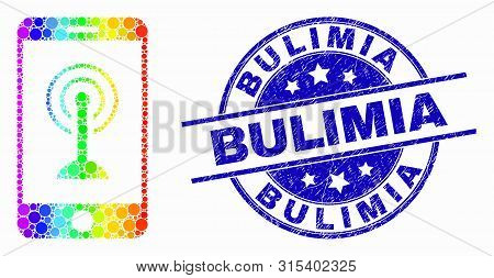 Dotted Rainbow Gradiented Smartphone Wi-fi Hotspot Mosaic Pictogram And Bulimia Seal Stamp. Blue Vec