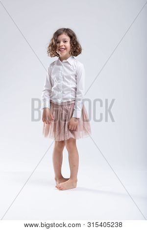 Cute Little Barefoot Girl Standing Pigeon Toed