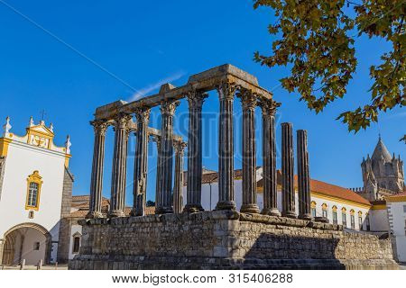 Temple of Diana, the Roman temple of Evora dedicated to the cult of Emperor Augustus, the most famous landmark of Evora. Portugal poster