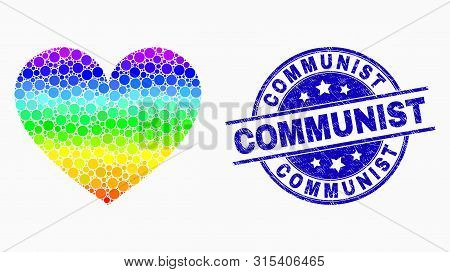 Pixelated Rainbow Gradiented Love Heart Mosaic Icon And Communist Stamp. Blue Vector Round Grunge Se