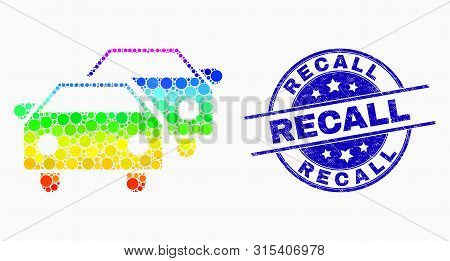 Dotted Spectrum Car Traffic Mosaic Icon And Recall Seal Stamp. Blue Vector Round Distress Seal With