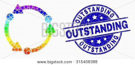 Pixelated Rainbow Gradiented Dot Rotation Mosaic Icon And Outstanding Stamp. Blue Vector Rounded Gru