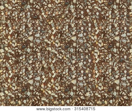 Granular Texture Of Concrete With Gravel Particles, Small Stones, Black, Gray And White Grains. Clos