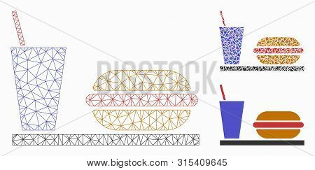 Mesh Fastfood Model With Triangle Mosaic Icon. Wire Frame Polygonal Mesh Of Fastfood. Vector Collage
