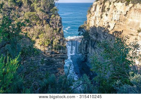 View Of Narrow Cliff Gulch, Gorge And Open Ocean. Nature Background