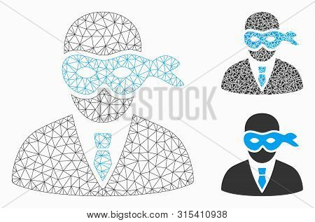 Mesh Masked Thief Model With Triangle Mosaic Icon. Wire Frame Polygonal Network Of Masked Thief. Vec