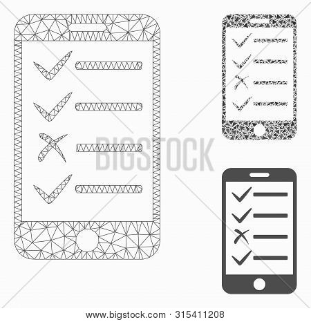 Mesh Mobile Todo List Model With Triangle Mosaic Icon. Wire Frame Triangular Mesh Of Mobile Todo Lis