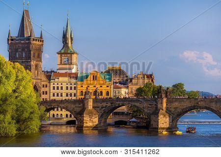 Prague Historic Cityscape With Charles Bridge And Medieval Architecture. Czech Republic, Prague