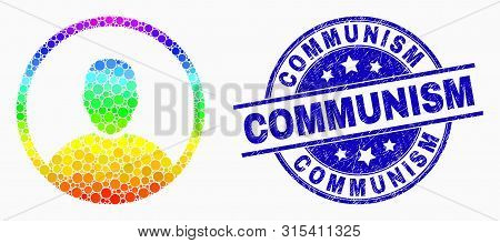 Dotted Bright Spectral Man Rounded Portrait Mosaic Icon And Communism Seal. Blue Vector Rounded Text
