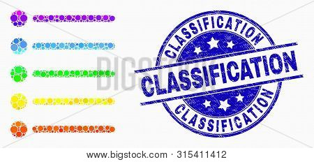 Pixel Rainbow Gradiented Items Mosaic Icon And Classification Seal Stamp. Blue Vector Round Textured