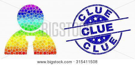 Dot Spectrum Boss Mosaic Icon And Clue Seal. Blue Vector Round Distress Seal With Clue Title. Vector