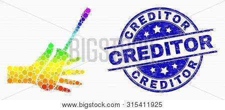 Pixelated Spectrum Hand With Screwdriver Mosaic Pictogram And Creditor Seal. Blue Vector Rounded Scr