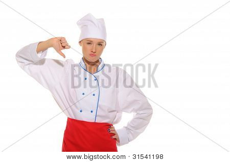Dissatisfied Beautiful Woman Cook