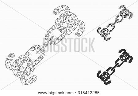Mesh Puppy Chain Model With Triangle Mosaic Icon. Wire Frame Triangular Mesh Of Puppy Chain. Vector