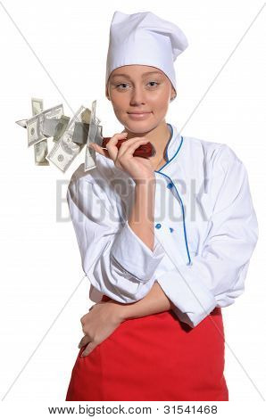 Happy Woman- Chef With Knife And Money