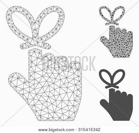 Mesh Remember Knot Model With Triangle Mosaic Icon. Wire Carcass Triangular Mesh Of Remember Knot. V