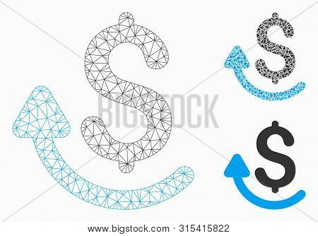 Mesh Repay Model With Triangle Mosaic Icon. Wire Carcass Triangular Mesh Of Repay. Vector Mosaic Of