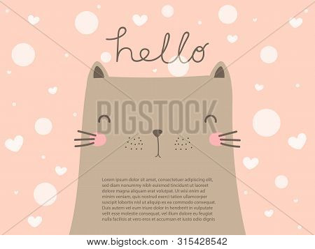 Cute big grey cat with smiling face look so funny. Lovely cat on pastel pink background with text hello. Sweet and beautiful cat wallpaper in vector doodle art design. Cat background with copy space decorate with heart and dot for cat lover. poster