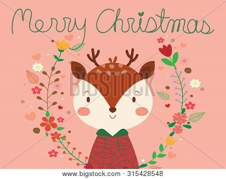Cute Reindeer In Floral Frame Or Flower Wreath Look So Sweet. Sweet Reindeer On Pastel Pink Backgrou