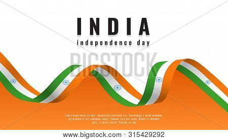 Indian National Flag Ribbon Happy Independence Day India