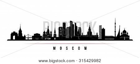 Moscow City Skyline Horizontal Banner. Black And White Silhouette Of Moscow City, Russia. Vector Tem