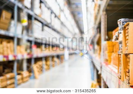 Rows Of Shelves With Goods Boxes In Modern Industry Warehouse Store At Factory Warehouse Storage, Sh