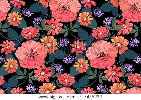 Art Floral Vector Seamless Pattern. Colorful Garden Flowers Mallow, Gaillardia, Lavender Isolated On