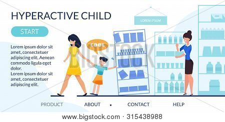 Flat Landing Page Reveal Hyperactive Child Problem. Naughty Mischievous Girl At Shop. Unhappy Upset