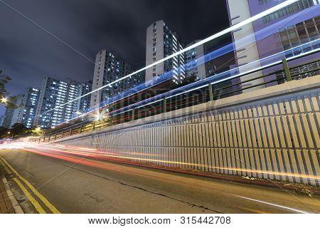 Traffic In Urban City In Hong Kong At Night