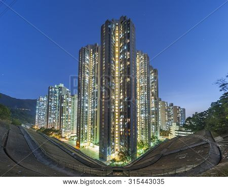 Public Estate In Hong Kong City At Dusk