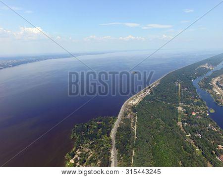 Storage pool of hydroelectric station. Dnepr river (drone image). Near Kiev