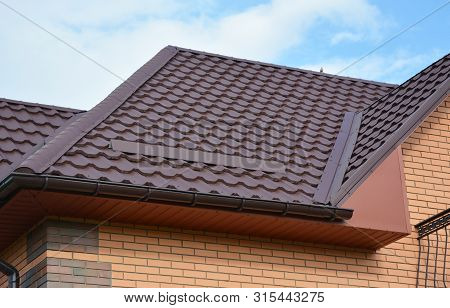 Wateproofing Roof Problem Area With Metal Roof Sheets And Rain Gutter. Lightweight Metal Roof Tiles