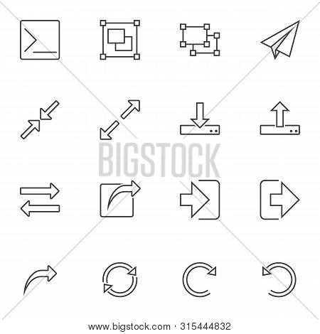 Basic Ui Elements Line Icons Set. Linear Style Symbols Collection Outline Signs Pack. Vector Graphic