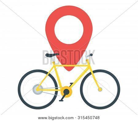 City Transportation, Travel Vector Illustration. Yellow Cruiser Bike And Location Marker, Pin Icon.