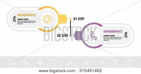 Vector Infographic Flat Template Circles For Two Label, Diagram, Graph, Presentation. Business Conce