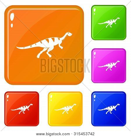 Gallimimus Dinosaur Icons Set Collection Vector 6 Color Isolated On White Background