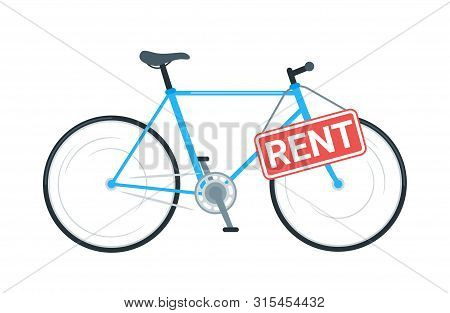 Bike Rental Business Vector Illustration. Modern Bicycle Sharing Service. Cruiser Cycle With Sign Bo