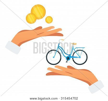 Bicycle Purchase Flat Vector Illustration. Hands Holding Money And Cycle. Buyer With Payment, Salesm