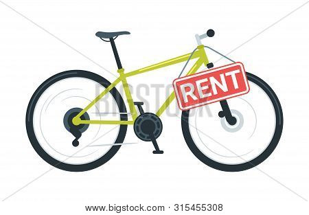 Sport Bike Rental Vector Illustration. Modern Bicycle Sharing Business. Cruiser Cycle With Rent Sign