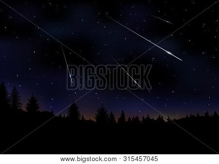 Vector Illustration Of Meteor Shower. Falling Perseids On Dark Night Sky. Meteor Rain, Falling Glowi