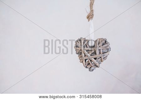 Wooden Heart Decoration, Retro Wooden Toy.weaved Heart Isolated On White Background.valentine Backgr