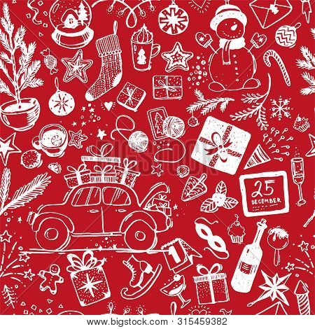 Seamless Christmas Pattern Of White Details With A Line On A Red Background. Doodle Sketch For Fabri