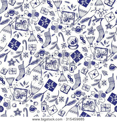 Seamless Christmas Pattern Of Blue Elements With A Line On A White Background. Christmas Doodle Sket
