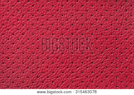 Perforated Wine Leather Texture Background, Closeup. Dark Red Backdrop From Wrinkle Skin, Structure