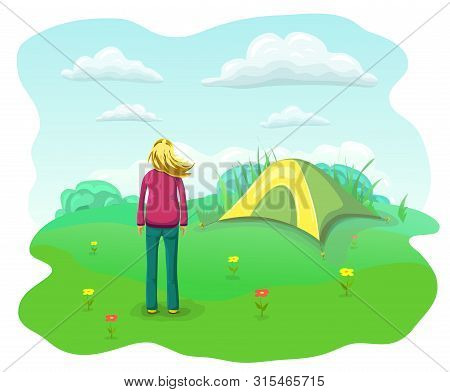 Relaxing Woman In Nature. Summer Camping Flat Landscape. Relaxed And Happy Girl With Flying Hair Nea
